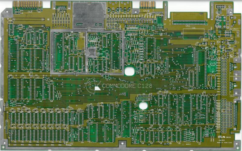 C128 PCB, front side